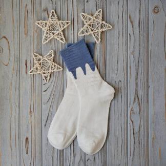носки белые с голубым верхом