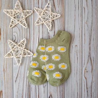носки короткие ромашки оливковый