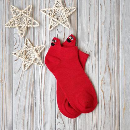носки красные короткие смайл