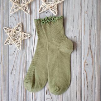 носки оливковые с рюшей