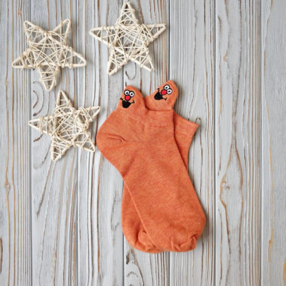 носки оранжевые короткие смайл